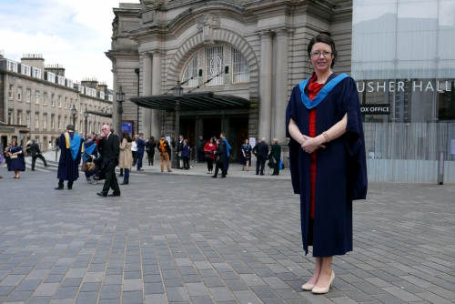 Zuzana in front of Usher Hall