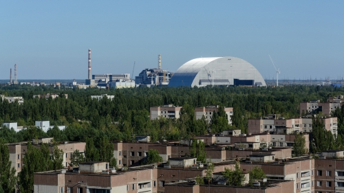 Chornobyl powerstation from the rooftop of a Prýp'jat apartment block.